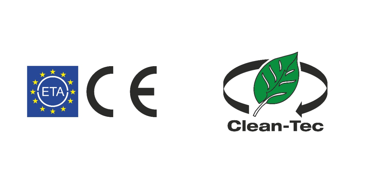 Logos for ETA and CE approval, plus the Hilti Clean-Tec logo