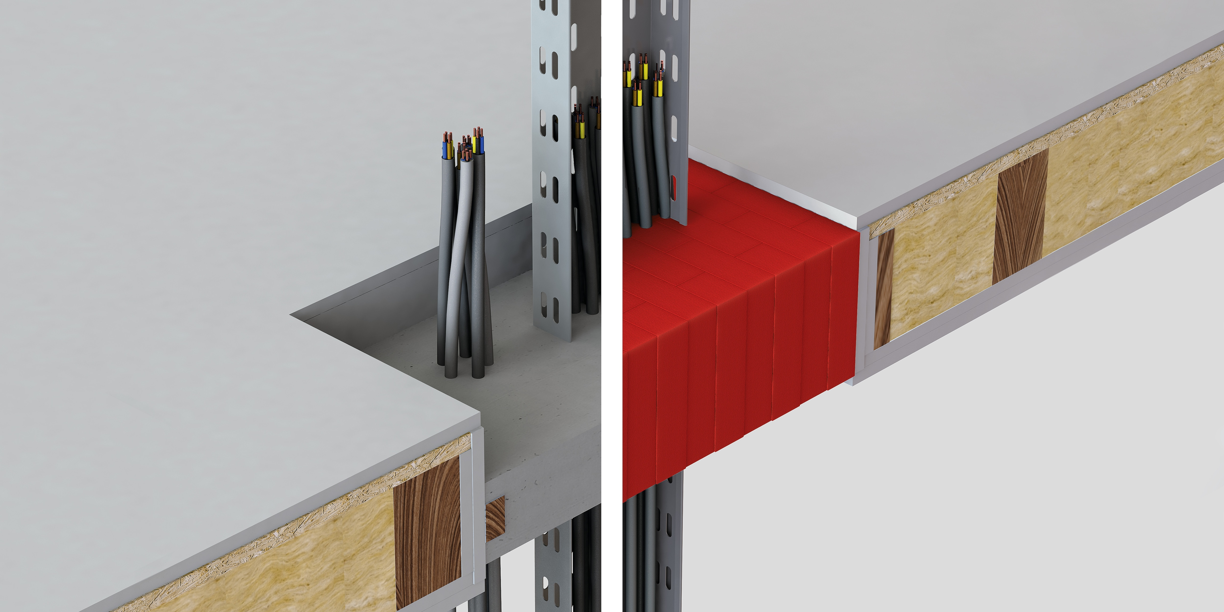 3D rendering showing a comparison of a traditional mortar solution (on the left) and dry Hilti firestop blocks  in red (on the right) through a timber floor