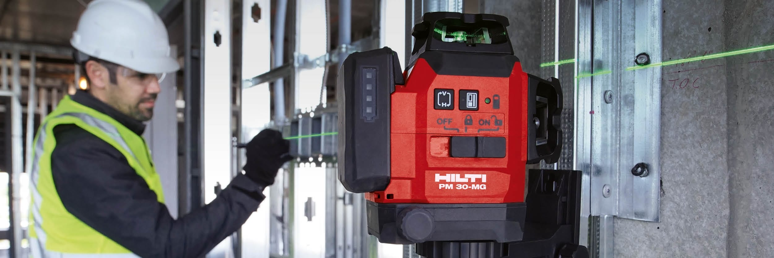 Hilti PM 40-MG green beam multi-line laser for aligning, plumbing, squaring and leveling