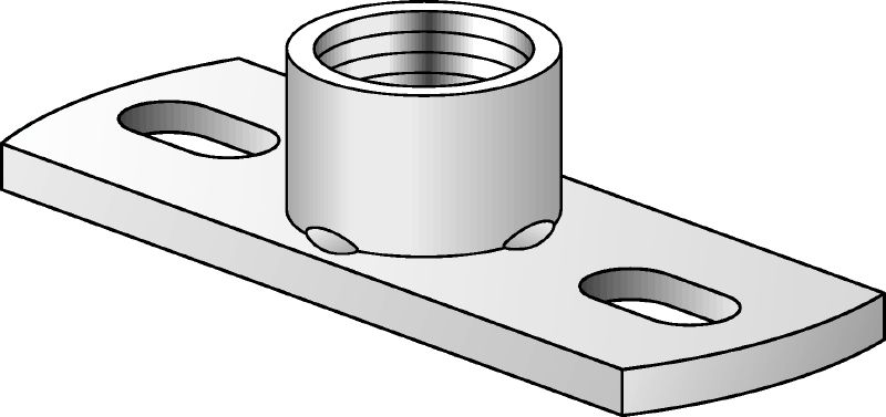 MGS 2 Galvanised medium-duty base plate to fasten imperial threaded rods with two anchor points