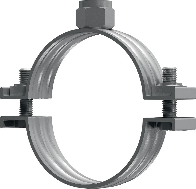 MP-M Standard galvanized pipe clamp without sound inlay for heavy-duty piping applications (metric)