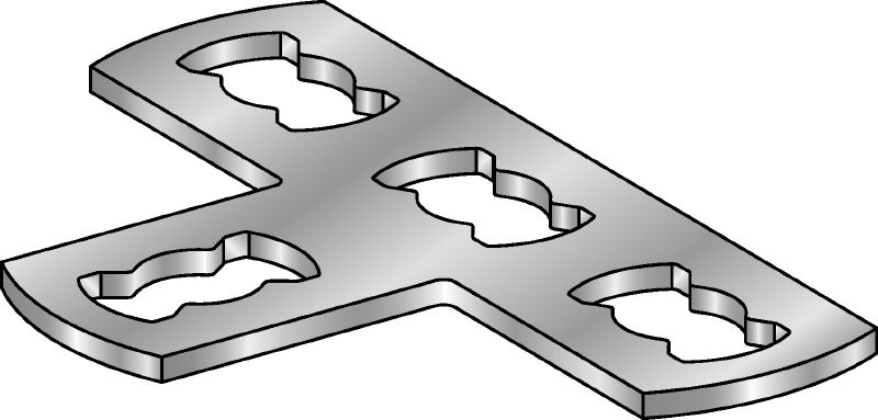 MQV-T-F Hot-dip galvanised (HDG) flat plate connector used for joining channels at right angles