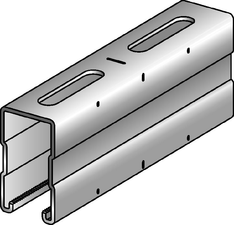 MQ-72 Galvanised 72 mm high MQ strut channel for medium/heavy-duty applications