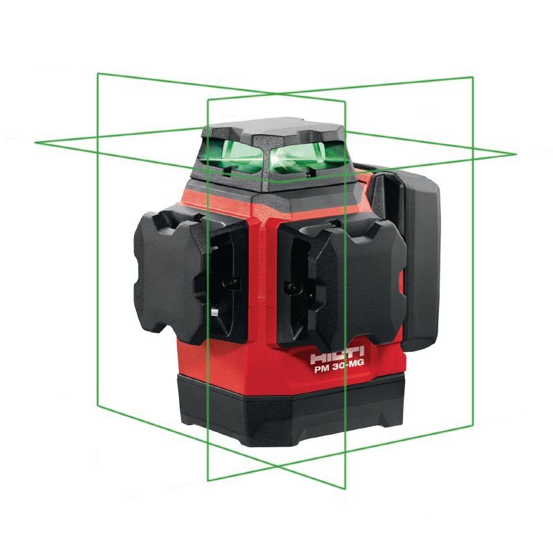 PM 30-MG Multi-line laser with 3 green 360° lines for plumbing, levelling, aligning and squaring