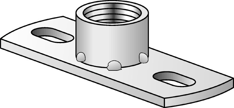 MGL 2 Galvanised light-duty base plate to fasten imperial threaded rods with two anchor points