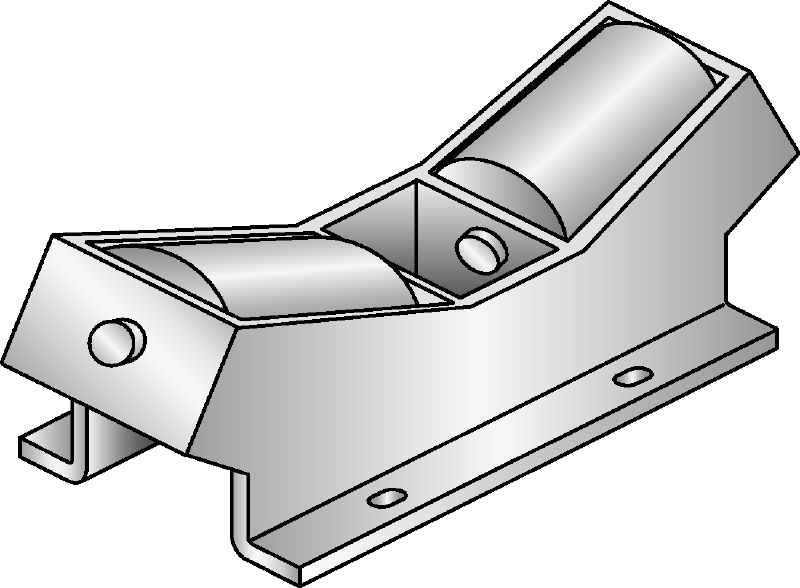 MI-DPR Hot-dip galvanised (HDG) connector fixed to the MI girder to accommodate pipe expansion in heavy-duty applications