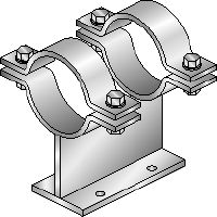 MI-PS 2/1 Hot-dip galvanised (HDG) double pipe shoes for fastening DN 25-300 pipes to MI girders in heavy-duty applications