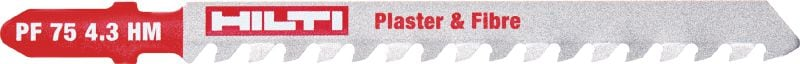 Gypsum, cement and plastic jig saw blade Ultimate jig saw blade for fast cutting in plaster and cement boards as well as reinforced plastics