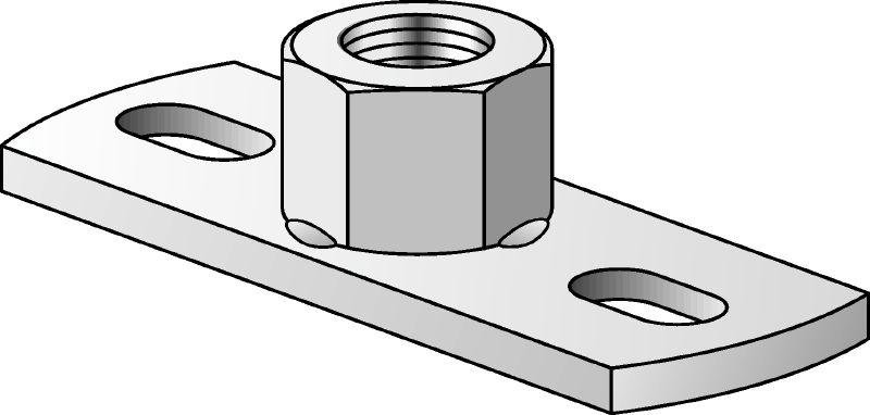 MGS 2-R Stainless steel (A4) medium-duty base plate to fasten metric threaded rods with two anchor points