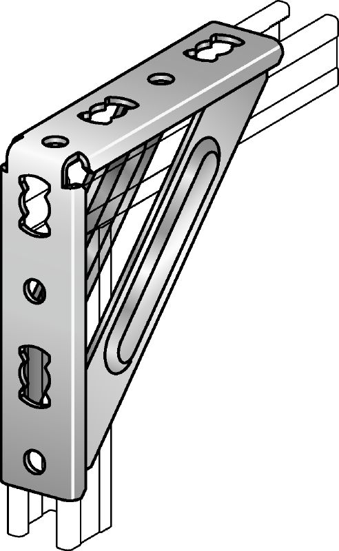 MQW-S Galvanised 90-degree heavy angle for connecting multiple MQ strut channels in medium/heavy-duty applications