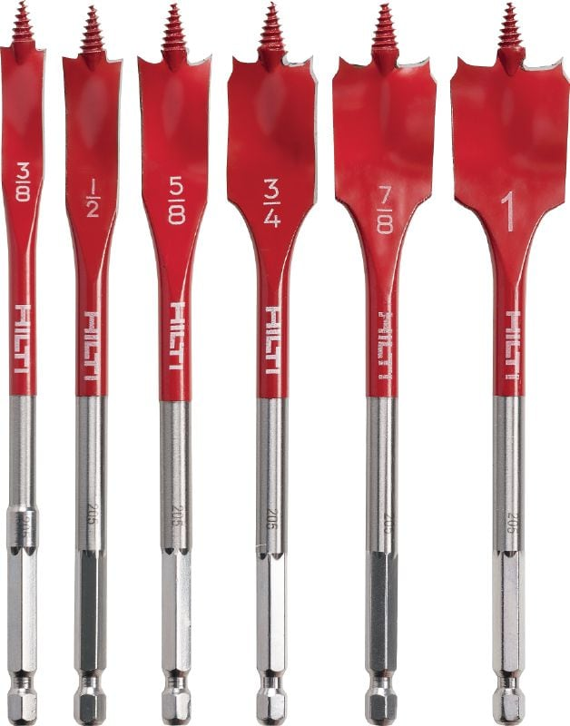 WDB-S sets Spade bit set for fast drilling of shallow holes in wood