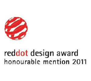 "Dette produkt er tildelt Red Dot kommunikations-designprisen ""Honourable Mention""."